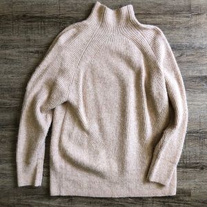 Topshop | Beige Chunky Mock Neck Sweater